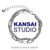 手鏈 KANSAI自制ins潮拼接雙層疊帶手鏈男女嘻哈個性冷淡風鈦鋼手飾品 歐歐