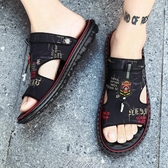 新款皮涼鞋男夏季外穿男涼拖室外兩用軟底開車拖鞋防靜電鞋洞洞鞋拖鞋涼鞋沙灘鞋