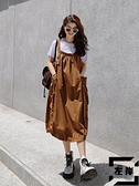 背帶裙女夏連身裙設計感韓版寬鬆洋氣中長款燈籠裙吊帶裙【左岸男裝】