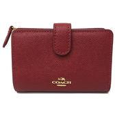 【COACH】專櫃款金屬 LOGO全皮革中夾短夾證件夾(紅)