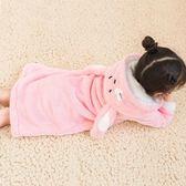 兒童浴袍 兒童睡袍女童珊瑚絨秋冬寶寶浴袍小女孩法蘭絨冬季加厚款長袖睡衣 怦然心動