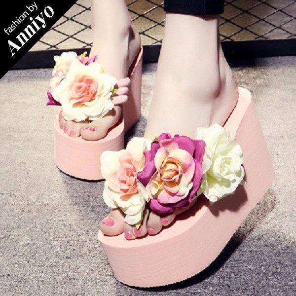 Anniyo安妞‧波希米亞海邊度假必備浪漫花朵人字拖夏季夾腳拖超高坡跟超厚底沙灘拖鞋涼鞋 粉色