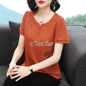 中老年女裝短袖T恤夏季新款純棉印花上衣寬鬆大碼氣質媽媽打底衫 快速出貨