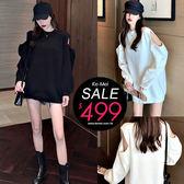 克妹Ke-Mei【ZT54613】nuts日本雜誌款 性感火辣小露肩寬鬆高領毛衣洋裝