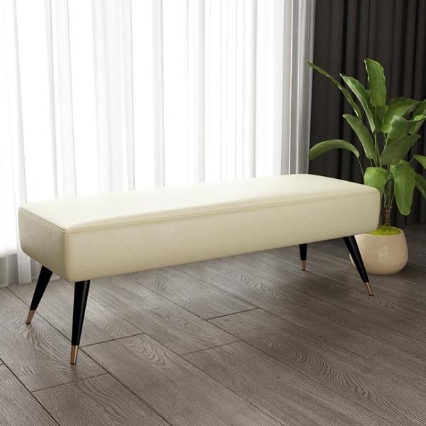 換鞋凳 輕奢鐵藝換鞋凳布藝皮床尾凳臥室沙發凳子長方形網紅服裝店長條凳 MKS生活主義