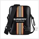 BURBERRY白字LOGO滑面帆布條紋印花設計拉鍊斜背包(黑)