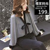克妹Ke-Mei【AT53955】korea氣質名媛款蝴蝶結寬鬆修身雪紡上衣