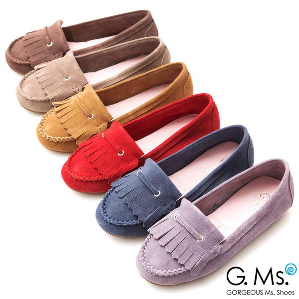 G.Ms.* 牛麂皮減壓豆豆底流蘇莫卡辛鞋-駝色