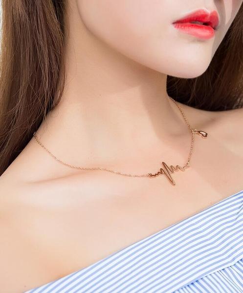 新品韓版時尚心跳心電圖玫瑰金鎖骨項鍊