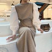 綁帶洋裝 韓國簡約百搭圓領撞色綁帶收腰拼接假兩件針織燈籠袖洋裝女-Milano米蘭