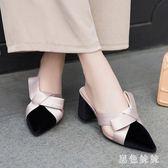 包頭半拖鞋女大尺碼春款無后跟懶人穆勒鞋韓版外穿蝴蝶結粗高跟拖鞋 qf6608【黑色妹妹】