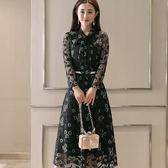 *魔法之城*L31349長袖修身顯瘦中長款裙子長裙