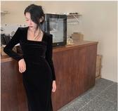 法式復古方領黑色絲絨長袖連身裙女裝2020秋季新款中長裙修身裙子 非凡小鋪