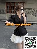 西裝外套女夏季薄款氣質小眾泡泡袖新款收腰黑色短袖職業西服上衣【happybee】