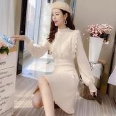 針織洋裝配大衣的毛衣裙子秋冬季加厚針織洋裝女修身氣質小個子打底裙潮 全館免運