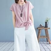 棉麻短袖 純色綁帶文藝亞麻上衣女裝夏季寬鬆顯瘦大碼半袖百搭短袖t恤 免運快出