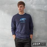 【JEEP】3D北極熊圖騰休閒長袖TEE (深藍)