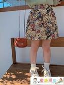 女童半身裙 藍小爸童裝女童半身裙兒童半裙2021新款春秋寶寶高腰小熊印花裙子 童趣