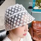 MD韓【A09200070】網紗刺繡漁夫帽-2色