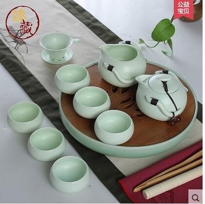 臻藏 茶具套裝整套特價陶瓷功夫茶具竹製陶瓷茶盤 定窯冰裂套裝(B2清韻茶盤配定窯青綠色)
