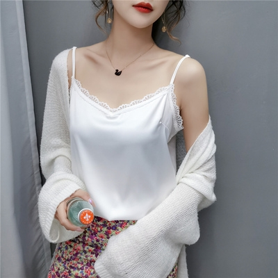 834#真絲純色性感V領小吊帶背心女NE326-B.依品國際