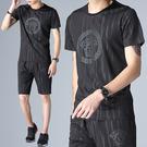 印花T+運動短褲套裝 休閒短袖兩件套 M-4XL碼【CW44017】
