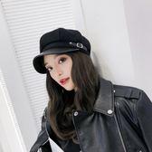 貝雷帽女秋冬韓版日系百搭帽子八角帽英倫畫家帽休閒夏季薄款黑色