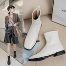 大尺碼女鞋34~43 2020新款方頭低跟馬丁靴 彈力短靴~2色