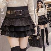 超短裙 韓版修身顯瘦蓬蓬裙海馬毛半身裙打底A字蛋糕裙褲「Chic七色堇」