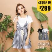 兩件式-棉T+格紋細肩連身短褲-NN-Rainbow【A999101】