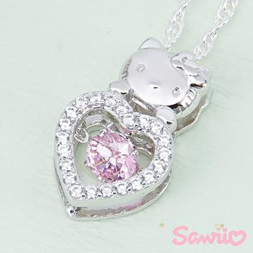 Hello Kitty凱蒂貓-浪漫甜心(粉)-純銀項鍊