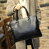 簡單商務休閒男士手提包包橫款單肩斜背電腦包公事包 可可鞋櫃