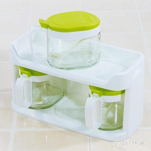 茶花玻璃調味盒調味罐套裝雙層家用廚房調味瓶罐鹽罐調料400ml*3 DJ11587『毛菇小象』