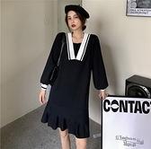 (下殺)黑色氣質針織連身裙女寬鬆顯瘦減齡a字裙【08SG04791】