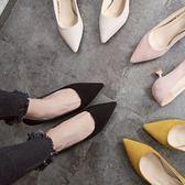 貓跟女鞋矮跟春季新款淺口高跟鞋尖頭絨面黑色低跟單鞋女5CM  范思蓮恩
