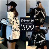 克妹Ke-Mei【ZT49313】本季主打!時髦精最愛可雙面穿字母電繡毛衣洋裝