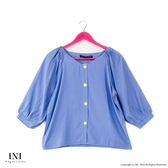 【INI】注目質感、造型氛圍寬袖上衣.藍色