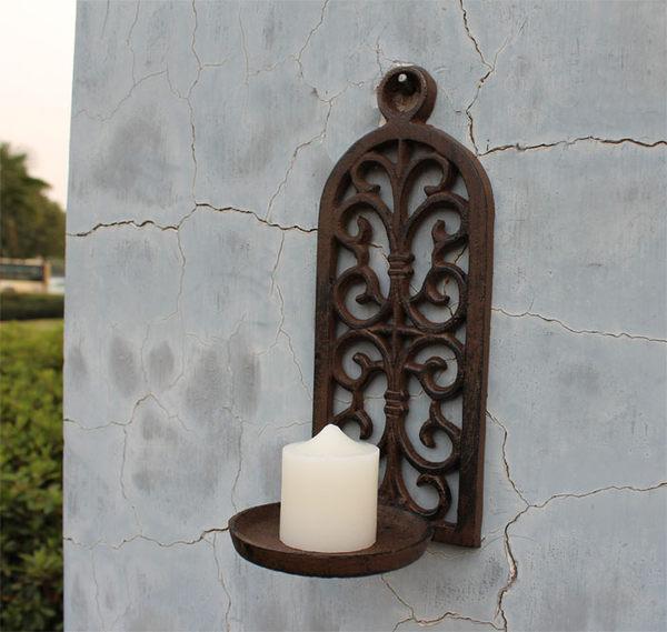 歐式田園鑄鐵拱形鏤空壁掛燭台蠟燭台復古懷舊裝飾品庭院家居挂件