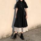日系溫柔風小黑裙拼接假兩件polo洋裝收...