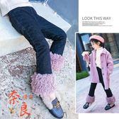 女童牛仔褲秋冬刷毛洋氣長褲中大童加厚喇叭褲子【奈良優品】