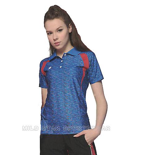 MILD STAR 女版吸濕排汗印花圖騰短POLO衫-寶藍#LS900688