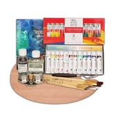 繪畫套裝 初學者油畫顏料套裝24/18/12色溫莎油畫顏料材料繪畫工具套裝 麥吉良品
