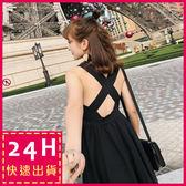 梨卡★現貨 - 性感心機顯瘦沙灘度假後交叉黑色肩帶連身長裙洋裝沙灘裙C6252