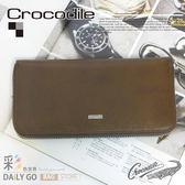 Crocodile鱷魚皮夾真皮長夾男夾皮包-手拿包0103-59112咖啡