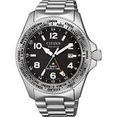 CITIZEN 星辰 PROMASTER GMT 限量光動能兩地時間手錶-銀/42mm BJ7100-82E