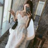 新款白色露背吊帶心機連身裙