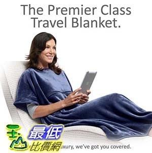 [106美國直購] Travelrest 3913519 旅行用多功能聰明毯 4 in1 Premier Class Travel Blanket with Pocket 38x60吋