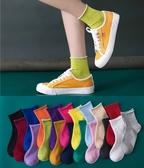 襪子女ins潮秋冬夏季薄款中筒襪韓國個性百搭糖果色彩色卷邊短襪