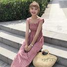 夏裝女裝韓版氣質小清新中長款波點無袖背心裙吊帶洋裝顯瘦長裙