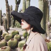山本耀司風純色遮陽帽太陽帽女士帽子夏天大檐布帽出游防曬漁夫帽